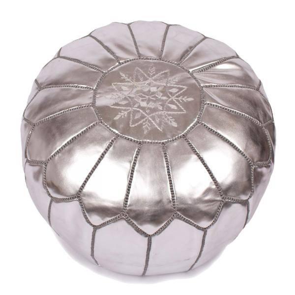 Riadlifestyle Marokkaanse leren poef zilver