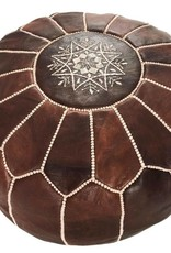 Riadlifestyle Marokkaanse leren poef bruin