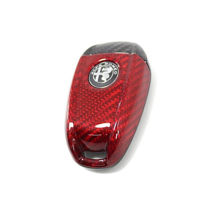 Giulia key cover zwart/rood carbon