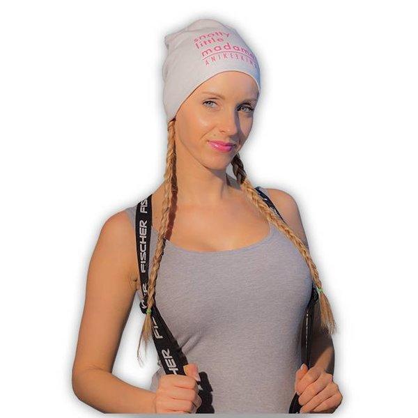 Anike Ekina Beanie Mütze Baumwolle - weiß/pink - snottylittleMadame - unisex