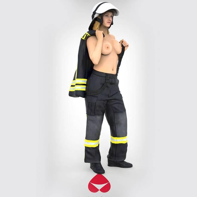 Anike Ekina - Sexy Firefighter topless   verschiedene Größen