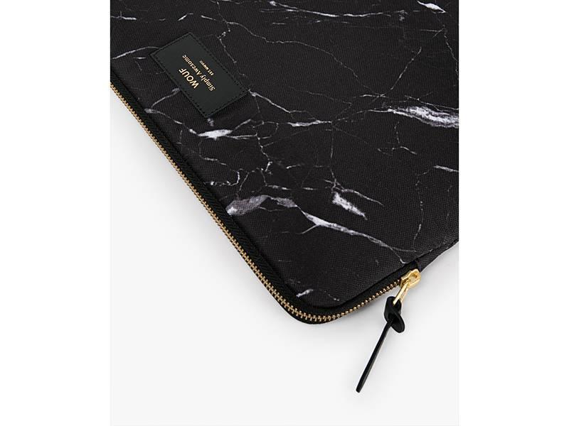 "Wouf Black Marble Laptop Sleeve 13"""