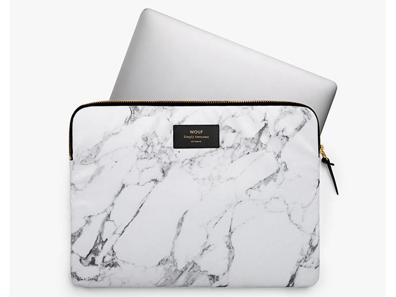 Wouf White Marble Laptop Sleeve 13""