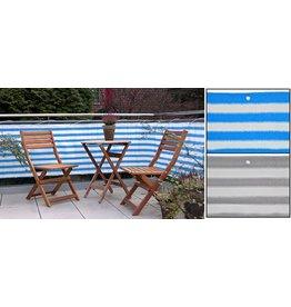 Balkonschutz Sichtschutz 6m lang 75cm hoch blau-weiss mit Seil 24m 60233