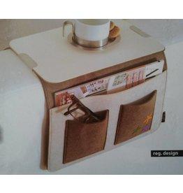 Home & Garden Sofa Butler Carry mit 4 Taschen Ablageplatte braun-weiss 201040202-HE