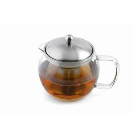 Weis 170502 Teekanne aus Glas und Edelstahl mit Sieb 1,0 Liter