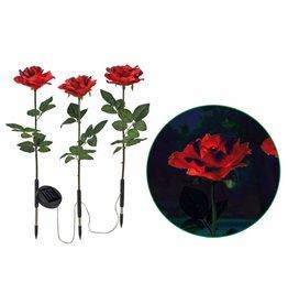 HI Solar Gartenstecker Dekostecker Rosen 3tlg rot Höhe 57cm 70265