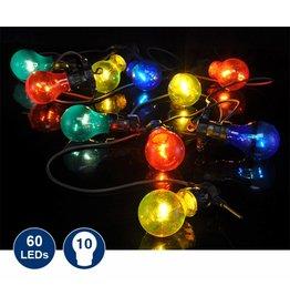 LED Partylichterkette mit 10 bunten Lampen 7,5m in Glühlampen Optik 50012