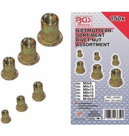 BGS technic 14126 Nietmuttern Sortiment M3-M10 Stahl verzinkt 150tlg in Kassette