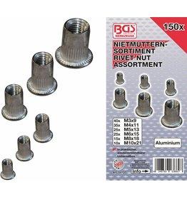 BGS technic BGS technic 14127 Nietmuttern Sortiment M3-M10 Aluminum 150tlg in Kassette