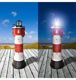 Westerholt Solar Leuchtturm Roter Sand Höhe 78cm aus Polyresin mit einer weissen LED 2325