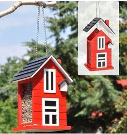 HI Vogelfutterhaus Futterhaus aus Holz rot mit Aufhängevorrichtung 57242