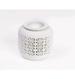 Home & Garden Aromalampe Aromaduftlampe Blumendekor Keramik weiss 220V 202920101-HE