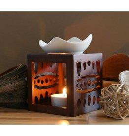 Home & Garden Aromalampe Duftlampe ETHNO mit Teelichthalter und Keramikschale 202050108-HE
