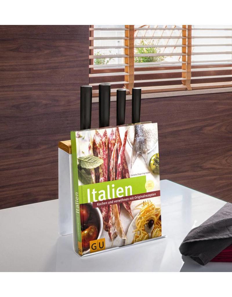 Home & Garden Küchenorganizer Kochbuchständer Messerblock für Tablet-PC weiss 202850101-HE