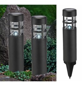 Solar LED Lampen Leuchten 2er Set schwarz Höhe 39cm 70307