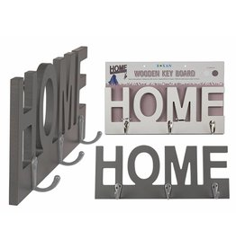 Holz Schlüsselbrett Schlüsselboard Garderobe HOME mit 3 Haken grau 144209