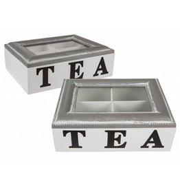 Holz Teebox Teekasten aus Holz grau-weiss mit 4 Fächer 20x15cm 144225
