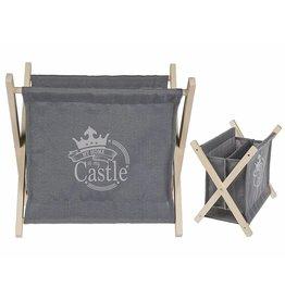 Zeitungsständer aus Stoff grau mit Holzgestell zusammenklappbar 32x30cm 146153