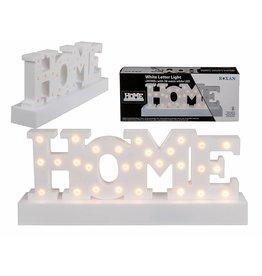 LED Deko Schriftzug HOME aus Kunststoff 30x12cm 28 warmweisse LEDs 220339