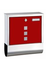Briefkasten aus Edelstahl mit Zeitungsfach mit roter Front 60604