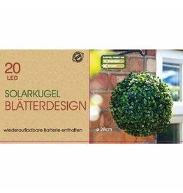 ewega LED Solarkugel Blätterdesgin Buchsbaum 28cm mit 20 LEDs 009904