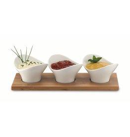 Weis 19080 Servier Set mit Tablett und 3 Schalen für Dips Saucen Snacks