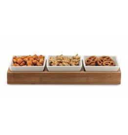 Weis Weis 19083 Servier Set mit Tablett und 3 Schalen für Dips Saucen Snacks