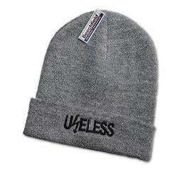 Useless Useless gesticktes Logo - Beanie grau