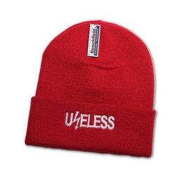 Useless Useless, gesticktes Logo - Beanie rot