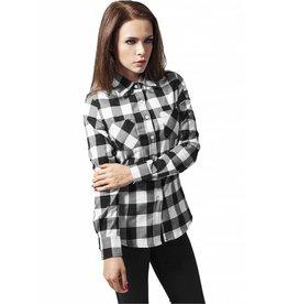 Urban Classics Flanell Hemd Ladies - weiß/schwarz