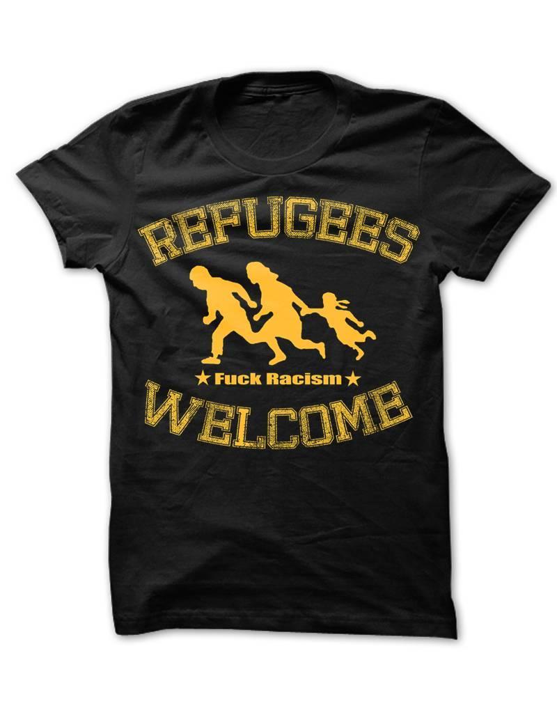 Useless Refugees Welcome T-Shirt schwarz/gelb