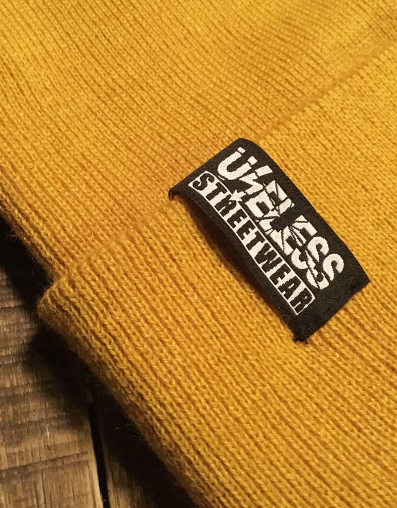 Useless Streetwear Beanie - gewebtes Label, mustard