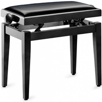 Stagg Hoogglanzend zwarte pianobank met zwarte fluwelen zitting