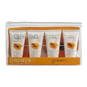 Fruit Extracts, travel kit papaya: shower gel, shampoo 2 in 1, body cream, hand cream 4x 30 ml
