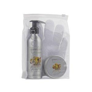 Fruit Emotions, giftset: scrub glove, shower gel 200 ml & body butter 100 ml, papaya - lemon