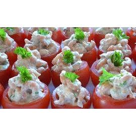Schaalmet 20 tomaatjes gevuld met garnalen