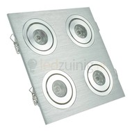4 x 1 watt complete led inbouwspot - Warm-wit - Dimbaar & kantelbaar - 360 lumen