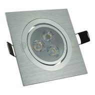 3 watt kantelbare led inbouwspot - Dimbaar - Warm-wit- 270 lumen - Geborsteld aluminium