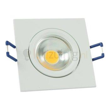 Witte GU10 inbouwspot (vierkant) met 3, 5, of 7 watt led lamp