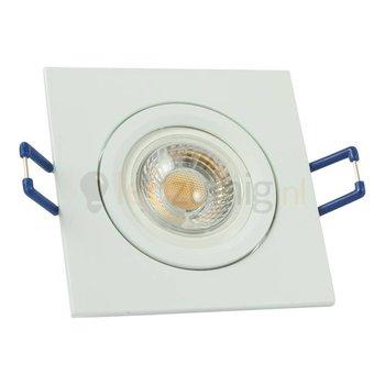Witte GU10 inbouwspot (vierkant) met 7 watt led lamp - 605 lumen