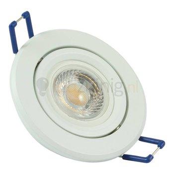 Witte GU10 inbouwspot (rond) met 7 watt led lamp - 605 lumen