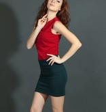 Red Cotton Sleeveless Dress Casual Wear