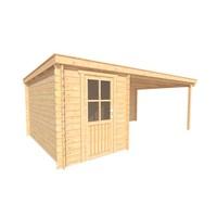 DWF Blokhut met overkapping lessenaar dak 200 x 350 + 400cm