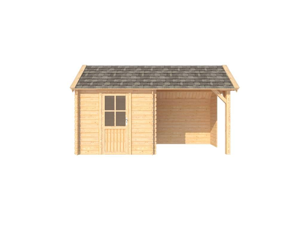 DWF Blokhut met overkapping Kapschuur dak 250 x 250 + 250cm