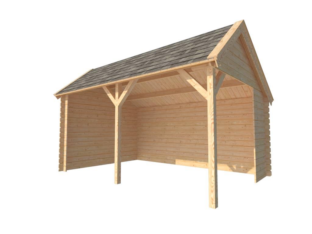 Houten overkapping kapschuur dak 450 x 300cm - X houten ...