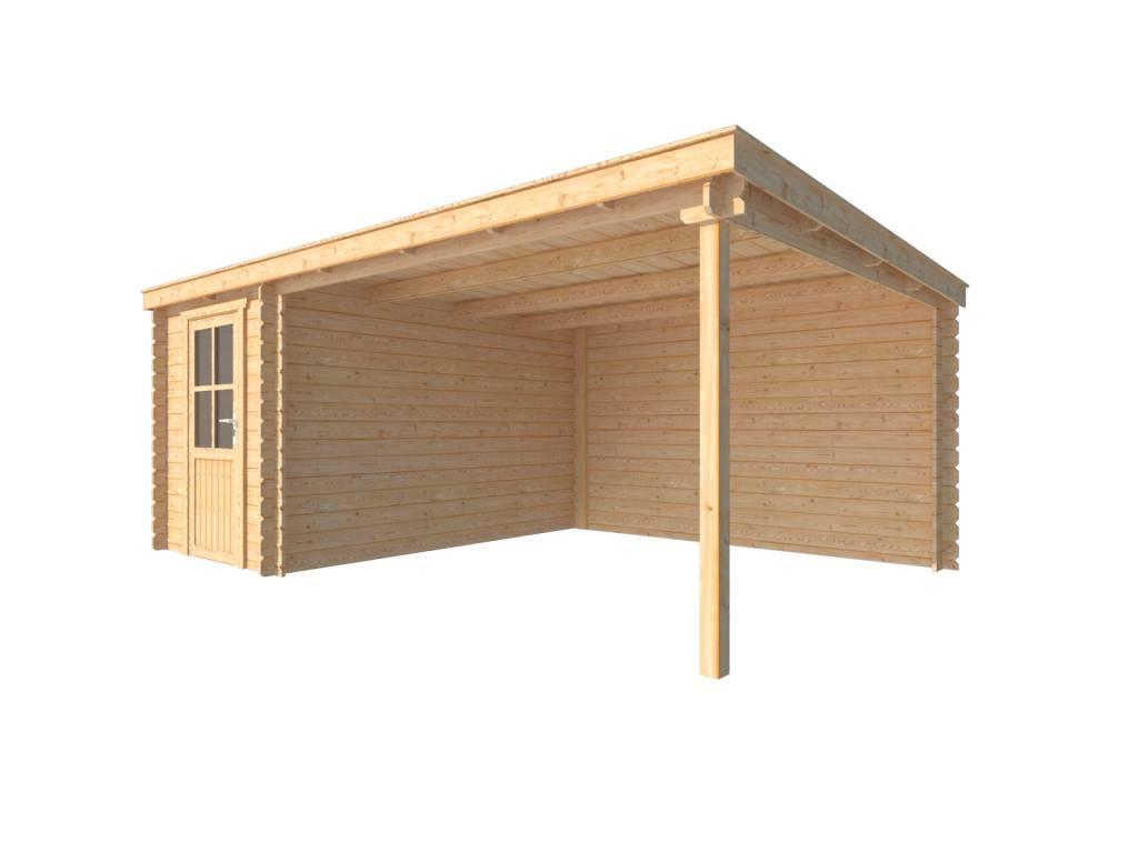 DWF Blokhut met overkapping lessenaar dak 200 x 350 + 350cm