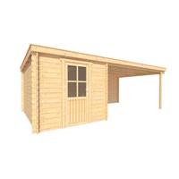 DWF Blokhut met overkapping lessenaar dak 250 x 350 + 400cm