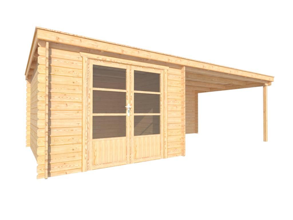 DWF Blokhut met overkapping lessenaar dak 300 x 350 + 400cm