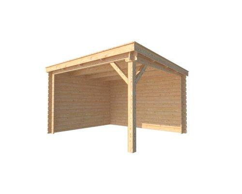 DWF Houten overkapping lessenaars dak 350 x 300cm